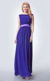 Stylish Cap-sleeved Long Chiffon Dress With Satin Sash