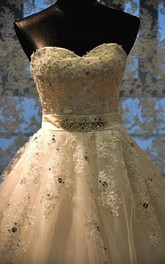 A-Line Maxi Sweetheart Beading Appliques Corset Back Keyhole Tulle Lace Dress