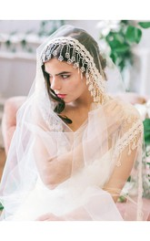 Boho Tulle Wedding Veil with Lace Applique