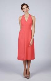 Halter V Neck A-line Chiffon Tea Length Dress Coral