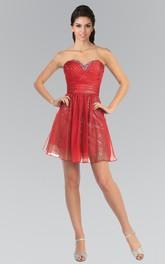 A-Line Short Sweetheart Sleeveless Chiffon Sequins Dress With Criss Cross