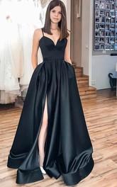 Satin Floor-length Sweep Train A Line Sleeveless Informal Evening Dress with Split Front