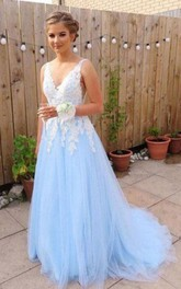Tulle Floor-length Brush Train A Line Sleeveless Adorable Formal Dress with Appliques
