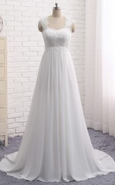 A-line Chiffon Empire Elegant Queen Anne Lace Wedding Dress With Key Hole And Lace-up