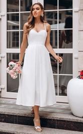 Satin Tea-length A Line Sleeveless Simple Wedding Dress with Ruffles