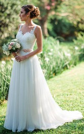 Casual Straps Chiffon Lace A Line Floor-length Brush Train Sleeveless Wedding Dress