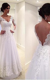 Newest Long Sleeve Tulle Lace Wedding Dress Court Train