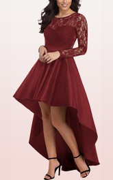 Taffeta Lace High-Low A Line Long Sleeve Casual Sexy Dress with Ruffles