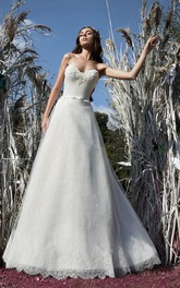 A-Line Floor-Length Sweetheart Sleeveless Corset-Back Lace Dress With Appliques And Sash