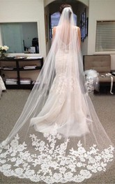 Retro Long Tulle Bridal Veil with Lace Appliques