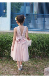 V Back Scoop Neck Pleated A-line Tulle Tea Length Dress Lace Top