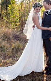 Backless Halter Lace A-line High Neck Chiffon Wedding Dress