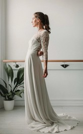Elegant Lace and Chiffon Sheath 3/4 Sleeve Deep-V Back Bridal Gown