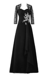 Sleeveless Chiffon Dress With Illusion Matching Jacket