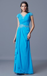 Classic V-neck Long Chiffon Dress With Low V-back