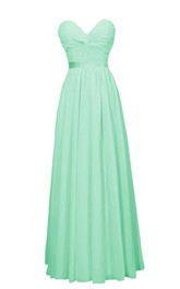 Strapless Sweetheart Ruched A-line Gown With Satin Band