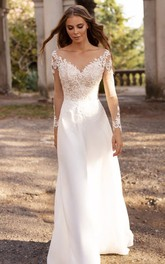 Elegant Bateau A Line Floor-length Sweep Train Long Sleeve Wedding Dress With Appliques
