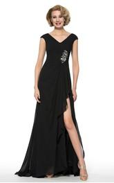 Elegant Chiffon V-Neck Cap Sleeve Long Dress with Beading
