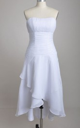 High-low Strapless A-line Chiffon Bridesmaid Dress With Asymmetrical Front