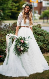 Lace Tulle Floor-length Court Train Two Piece Half Sleeve Sexy Wedding Dress