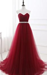 Tulle Floor-length Sweep Train A Line Sleeveless Romantic Formal Dress with Beading