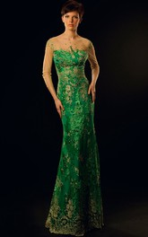 Sheath 3-4-Sleeve Maxi Appliqued Scoop-Neck Lace Prom Dress