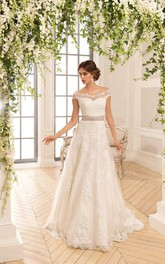 A-Line Long Off-The-Shoulder Illusion Lace Dress With Appliques And Ribbon