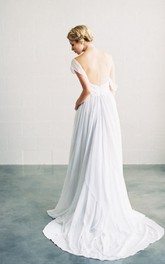 Crisscross Sweetheart A-Line Chiffon Dress With Lace Appliques