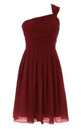 Oone-shoulder Ruching Dress With Basque Waist