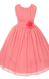 Sleeveless A-line Pleated Tulle Dress With Flower