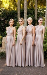 Cheap Chiffon Convertible Bridesmaid Dresses Ruffles Sleeveless Prom Gowns
