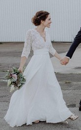 Ethereal Chiffon and Lace Scalloped 3/4 Sleeve Wedding Dress with ruching