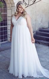 V-Neck Floor-Length Sleeveless Chiffon Plus Size Wedding Dress With Appliques