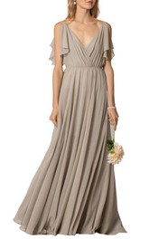 V-neck Ruched Floor-length Button Back Chiffon Dress