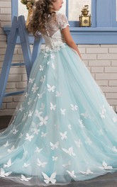Tulle Scoop Ball Gown Flower Girl Dress with Lace and Applique