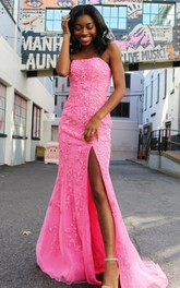 Simple Lace Mermaid Strapless Sleeveless Prom Dress With Appliques Split Front