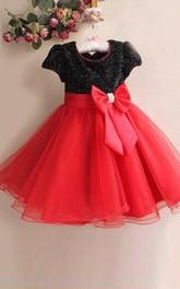 A-line Scoop Short Sleeves Bowknot Floor-length Organza Flower Girl Dresses