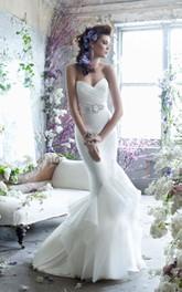 Enchanting Pleated Bodice Ruffle Dress With Crystal Beaded Belt