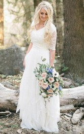 Bohemian Forest Modest V Neck Half Sleeves Lace Chiffon Bridal Gown