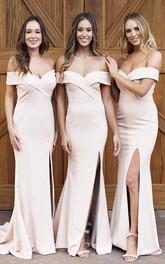 Sexy Cross Criss Elegant Off-the-shoulder Trumpt Bridesmaid Dress With Front Split