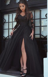 Tulle Floor-length A Line Long Sleeve Romantic Formal Dress with Appliques and Lace