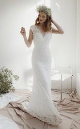 Cap Sleeve Lace Sheath Deep V-neck Wedding Dress With Court Train