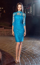 Pencil Knee-Length High Neck Half Sleeve Lace Illusion Dress With Appliques And Split Back