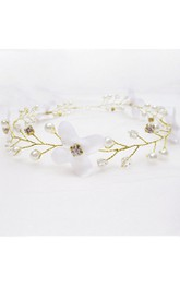 Forest Fairy White Flowers Crystal Garland Headdress