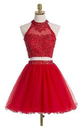 Short Sleeveless Two Pieces High Neck Tulle Dress