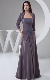 Strapless Sheath Chiffon Bolero and Dress With Lace