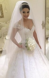 Cap-sleeved V-neck Lace Wedding Gown With Pleats