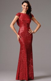 Sheath Bateau Short Sleeve Sequins Backless Dress