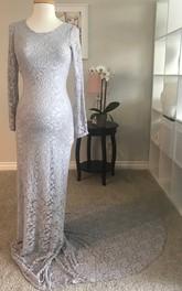 Lace Sheath Illusion Long Sleeve Bateau Maternity Dress