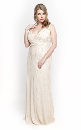 White V Neck Empire Sheath Chiffon Long Dress With V Back
